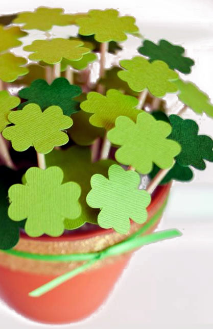 St. Patrick's Day Potted Paper Shamrocks Picture
