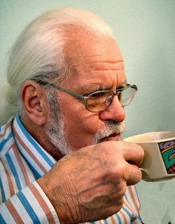 Senior Drinking Hot Drink in Mug Picture