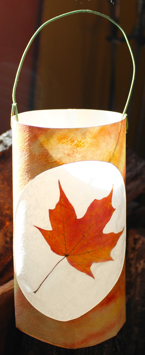 DIY Autumn Leaf Lantern Craft Picture
