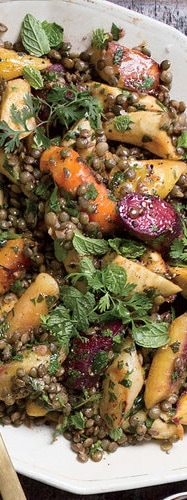 Warm Winter Lentil and Root Vegetable Salad